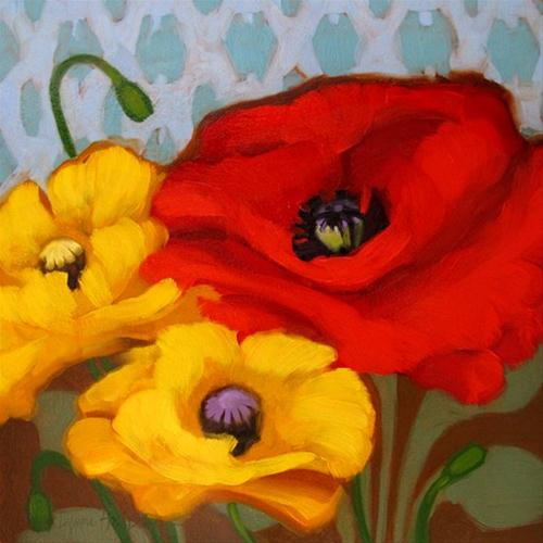 Poppies on Pattern companion painting original fine art by Diane Hoeptner