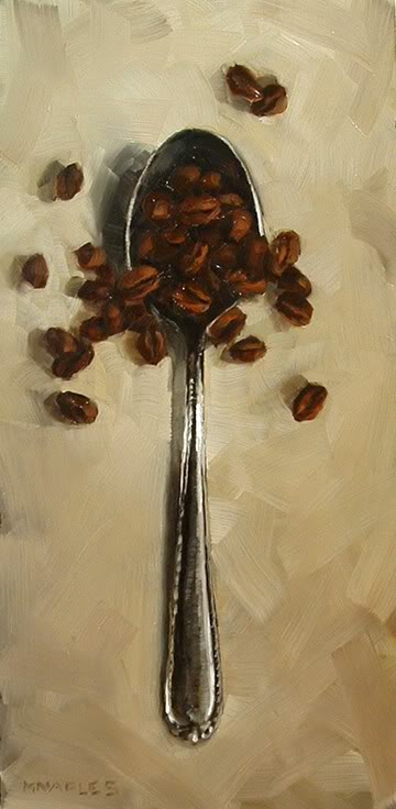 """Spoonful of Coffee Beans"" original fine art by Michael Naples"