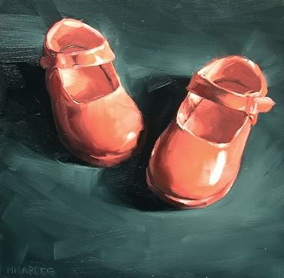 """Pink Mary Janes"" original fine art by Michael Naples"