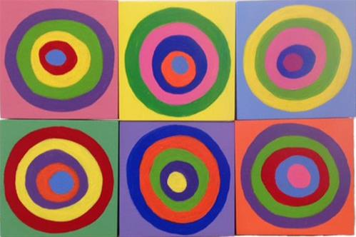 """Circles on Squares"" original fine art by Bobbi Heath"