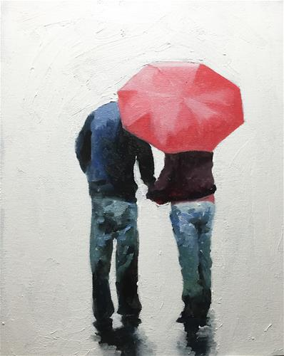 """Love in the Rain"" original fine art by James Coates"