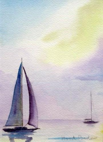 """Two Sailboats"" original fine art by Horst Berlow"