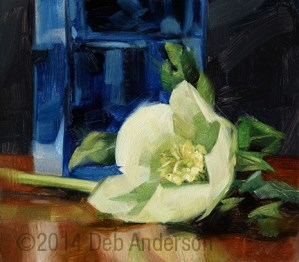 """Oil Painting: Hellebore with Blue Vase"" original fine art by Deb Anderson"