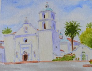 """Mission San Luis Ray de Francia"" original fine art by Robert Frankis"
