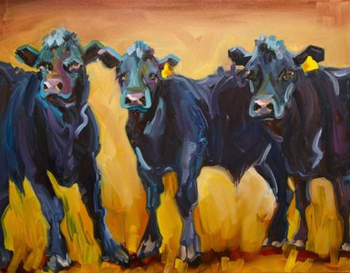 """COWS LOVE THE COWS Sold Tina's Cows Oil Painting Diane Whitehead"" original fine art by Diane Whitehead"