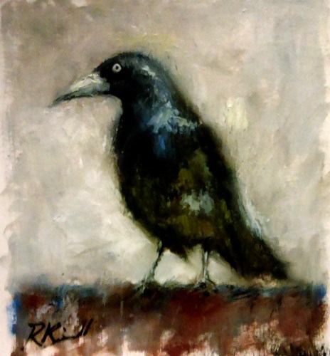 """Raven on the Backyard Fence"" original fine art by Bob Kimball"