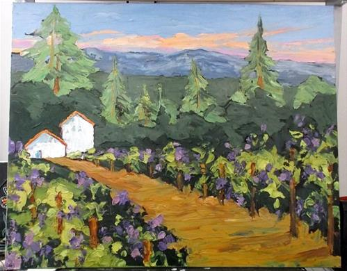 """California Vineyard Barns"" original fine art by lynne french"