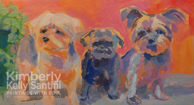 """In Process, Triple Threat, a three-headed dog portrait"" original fine art by Kimberly Santini"