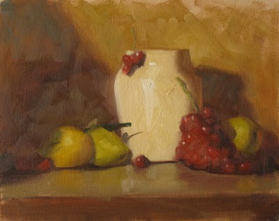 """Grapes and pears  8x10 oil"" original fine art by Claudia Hammer"