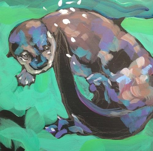 """Peek-A-Tail"" original fine art by Kat Corrigan"