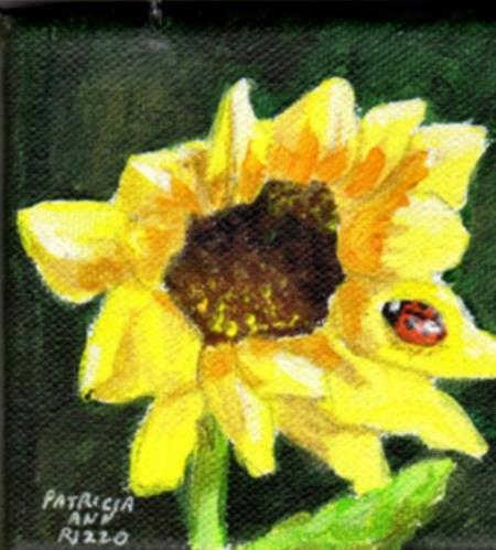 """Sunflower and Ladybug"" original fine art by Patricia Ann Rizzo"
