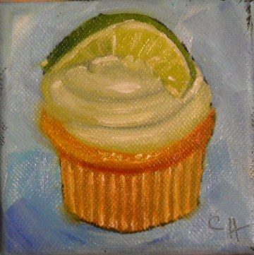 """Key Lime Cupcake"" original fine art by Claire Henning"