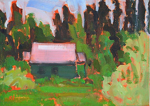 """Cottage in the Woods"" original fine art by Kevin Inman"