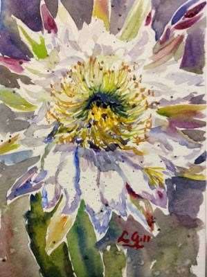 """Cactus Flower"" original fine art by Lyn Gill"