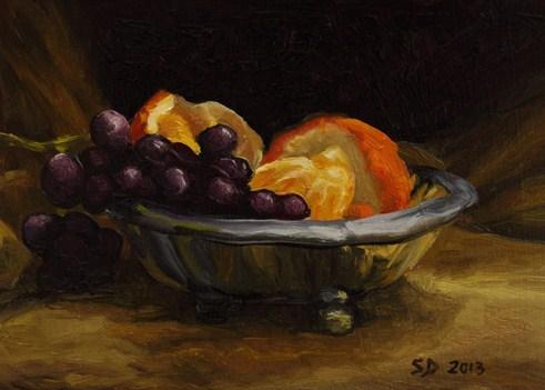 """""""Orange and Grapes 130211"""" original fine art by Sue Deutscher"""