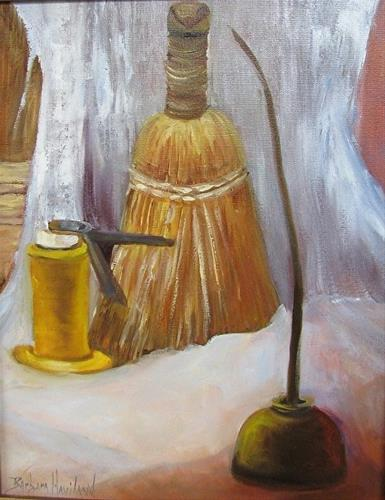 """Whisk Broom  and Oil Cans"" original fine art by Barbara Haviland"