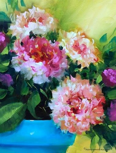 """Powdered Sugar Pink Peonies - Flower Paintings by Nancy Medina"" original fine art by Nancy Medina"