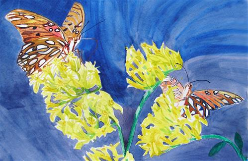"""Gulf Frittilary Butterflies"" original fine art by Alan Mintz"