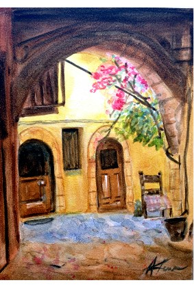 """Under the archway"" original fine art by Anoa Kanu"