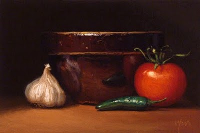 """Still Life with Tomato, Jalapeno, Garlic, and Bowl"" original fine art by Abbey Ryan"
