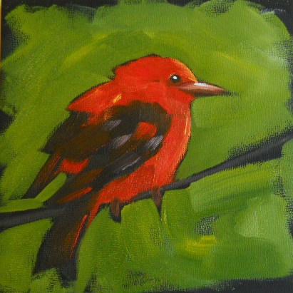 """Scarlett Tanager"" original fine art by Claire Henning"