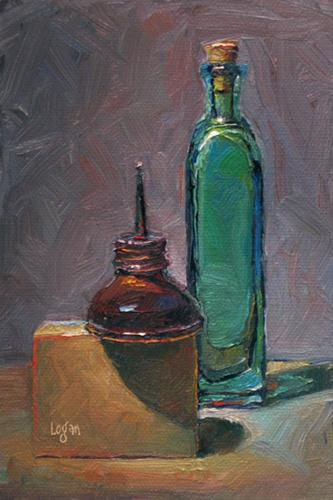 """Oil Can, Bottle and Block"" original fine art by Raymond Logan"