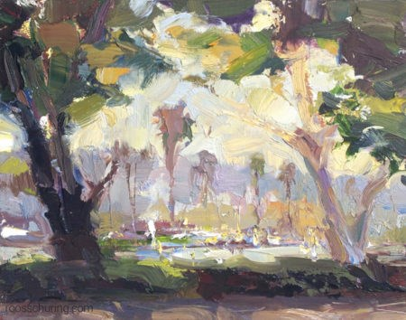 """View Through Trees – San Diego Harbour Drive"" original fine art by Roos Schuring"