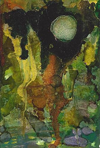 """""""Original Contemporary Abstract Mixed Media, Alcohol Ink Painting DARK MOON by Contemporary New Orl"""" original fine art by Lou Jordan"""