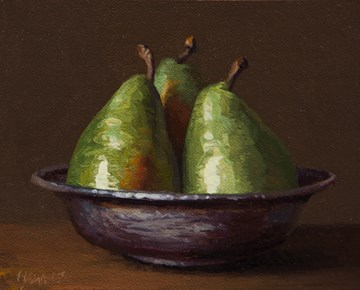 """""""Three D'Anjou Pears in a Copper Bowl (Separation of Powers)"""" original fine art by Abbey Ryan"""