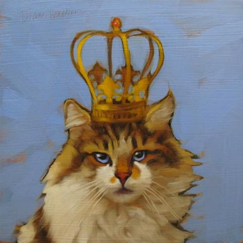 """Queen of Cats, character cat no. 4 and why am I painting these?"" original fine art by Diane Hoeptner"