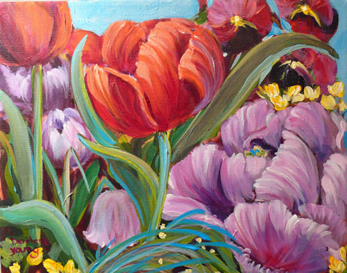 """Spring Tulips"" original fine art by Darlene Young"