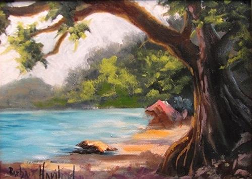 """""""Beach Cove Miniature oil Framed"""" original fine art by Barbara Haviland"""