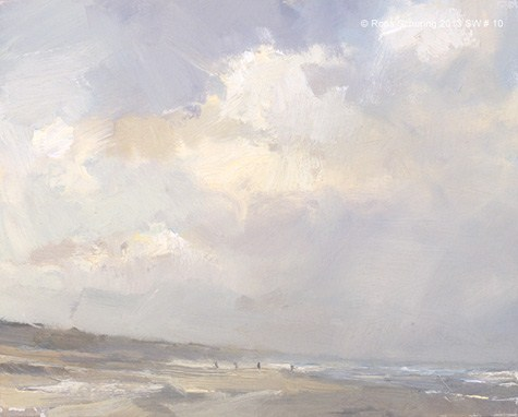 """Seascape winter 10 Clouds passing (available)"" original fine art by Roos Schuring"