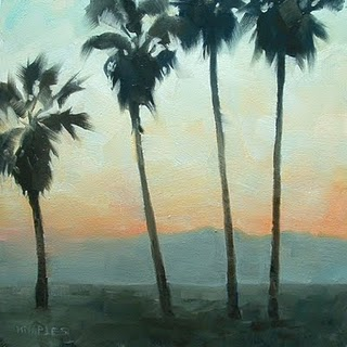 """Santa Monica Sunset"" original fine art by Michael Naples"