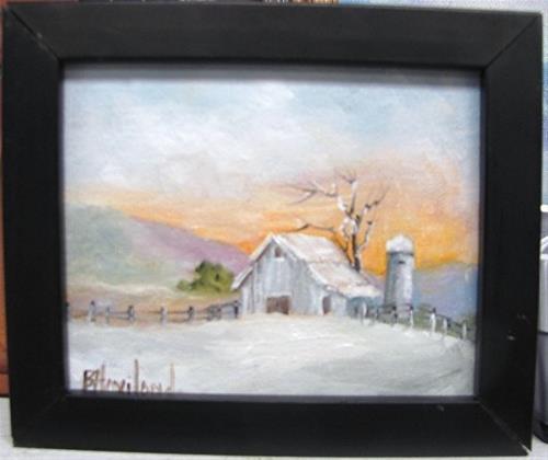 """Barn in The Snow  #miniature#oil painting#framed# Barbara Haviland"" original fine art by Barbara Haviland"