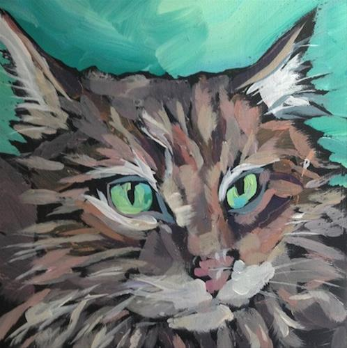"""Green Eyed Cat"" original fine art by Kat Corrigan"