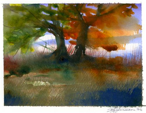 """Two Trees"" original fine art by Eileen Hennemann"