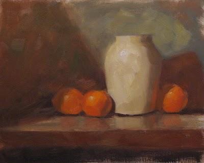 """Vase with oranges 8x10  oil"" original fine art by Claudia Hammer"