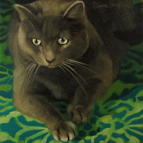 """New Year Cat pretty gray cat blue green pattern"" original fine art by Diane Hoeptner"