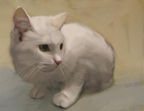 """White Cat small oil painting by Diane Hoeptner"" original fine art by Diane Hoeptner"