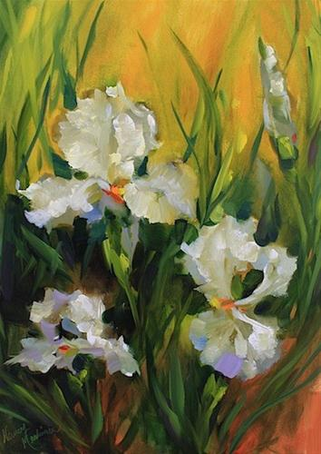 """White Lace Irises"" original fine art by Nancy Medina"