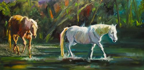 """HORSE STREAM EQUINE DAILY PAINTING DIANE WHITEHEAD ARTOUTWEST OCTOBER 2"" original fine art by Diane Whitehead"