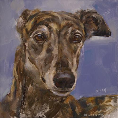 """""""Day 7 - Greyhound"""" original fine art by Kathleen Coy"""