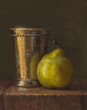 """Still Life with Pear and Silver Cup at Sunset   (+ Musings on my Sedona Workshop)"" original fine art by Abbey Ryan"