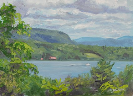 """Little Red Boathouse on the Hudson"" original fine art by Jamie Williams Grossman"