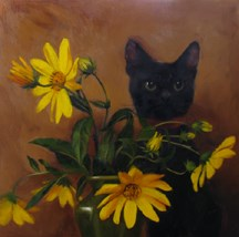 """Ebony Stalker, the kitten who fancies herself perfectly invisible"" original fine art by Diane Hoeptner"