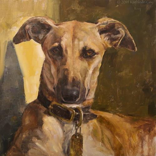 """Portrait of a Lurcher"" original fine art by Kathleen Coy"