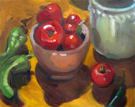 """Tomatoes on the Table"" original fine art by Carol Steinberg"