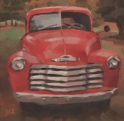 """Red Truck"" original fine art by Deborah Ann Kirkeeide"