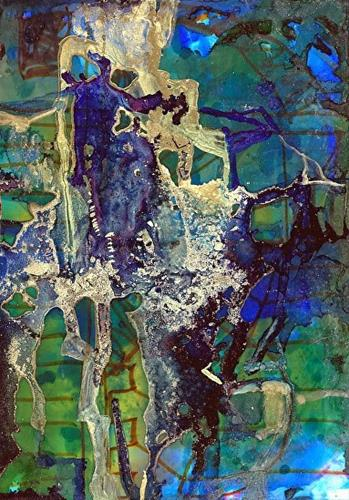 """Abstract Alcohol Ink Painting Metropolitan I by Contemporary New Orleans Artist Lou Jordan"" original fine art by Lou Jordan"